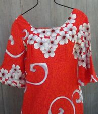 "Nos Vtg 60s Ui Maikai Orange White Cotton Hawaiian Hostess Beach Dress 33"" As Is"