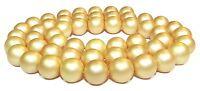 😏 Muschelkernperlen matt gold 8 mm Kugeln Muschel Perlen Strang für Kette 😉
