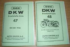 Ersatzteilliste DKW Krafträder SB 350 & SB 500 von 1936