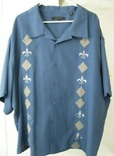 Handsome Synrgy Blue Fleur De Lis Diamonds Camp Shirt Mens 4XL Short Sleeves