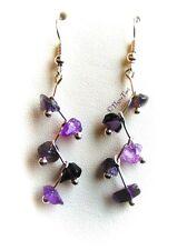 Amethyst Gemstone Zig-Zag Dangle Earrings...Silver Plated...