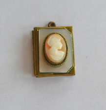 ANTIQUE VICTORIAN GOLDTONE & MOP HAND CARVED SHELL CAMEO BOX LOCKET PENDANT