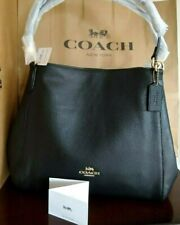 NWT Authentic Coach Hallie shoulder bag pebbel Leather  in Black F80268