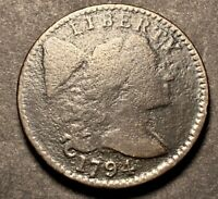 1794 Liberty Cap Large Cent 1c Rare Date Head Of 95 S-70 Die Crack Type Coin