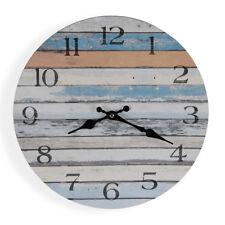 Horizontal Neutral Blue Boards Wall Clock 58cm   Beach Clock Large Size