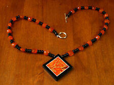 """#118 Carnelian, Onyx and Varicite Intasia Bead Necklace 19"""""""