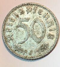 Rare 1939 J Germany - 50 Reichspfennig - KM# 96 - XF - Aluminium