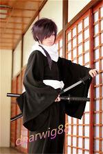 saito hajime full cosplay wig purple wig+Free Wig Cap