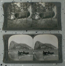 2 Antique Stereoscopic Stereograph Cards  Victorian Era Gibralter and Australia