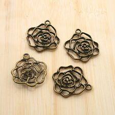 8pcs antiqued bronze color hollow flower design pendant charm G1780