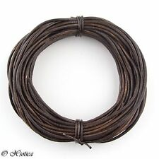 Brown Antique Round Leather Cord 1mm 10 meters (11 yards)