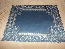 New Blue Lace Battenburg design Table Doily/Placemat 19 x 14 set of 2