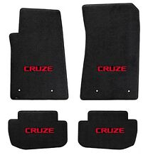 NEW! BLACK FLOOR MATS 2016-2017 Chevy Cruze with Red Embroidered Logo on All 4