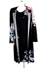 ST.JOHN Womens 2Pc. Knit Black Pink Blue Topper Long Jacket & Dress Sz 4-6