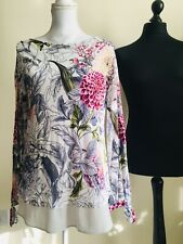 NWOT Per Una Size 10 Multi-coloured Floral Long Sleeve Top Tunic RRP 35£
