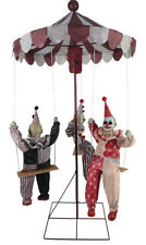 Halloween Animated CLOWNS ON MERRY GO-ROUND HAUNTED HOUSE Decor with Music Prop