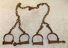 ANTIQUE STYLE CAST IRON METAL PRISONER SLAVE TRANSFER HANDCUFFS & LEG CUFF IRONS