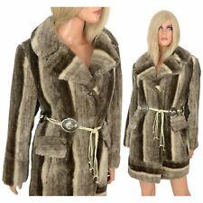 Vintage 60s 70s FAUX FUR COAT Shades of Grey Soft Plush Pile Concho Belt ILGWU