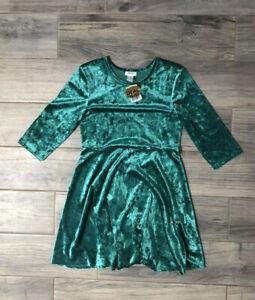 Girls Green Velvet Dress by Forever 21 size 13/14 NWT