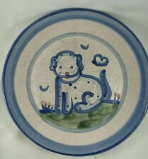 """M. A. Hadley Pottery Dog 11"""" Dinner Plate Blue Green Colourized"""