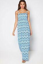 Blue Zig Zag Bandeau Maxi Dress 14-16