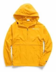 Champion Mens Jacket Packable Wind Resistant Lightweight Scuba Hood Kanga pocket