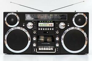 (Boombox) GPO BROOKLYN 80's Retro Bluetooth Black - 80 Watts, CD, Cass, FM, USB