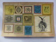Ex-libris ,Monogrammes ,Armoiries , collé  sur carton dont LIBRAIRIE HACHETTE ..
