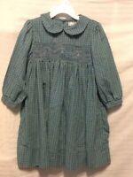Petit Ami Girls Smocked Dress Size 3 Green Purple Plaid Long Sleeve Q02