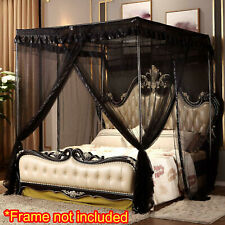 Black Ebony Ruffled Four 4 Post Bed Canopy Netting Curtains Sheer Panel Queen