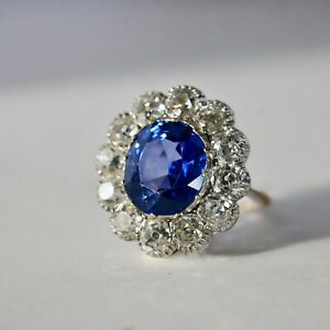 Antique Blue Sapphire & Diamond Ring Certified Ceylon Unheated - Video to view