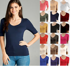 V Neck Elbow Length 3/4 T Shirt Top Active Basic Misses S M L Plus 1X 2X 3X  USA