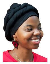 Black Cotton Modu Hat Pre-tied Head Wrap DPH564PT