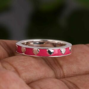 925 Sterling Silver Heart Design Band Ring Pink Enamel Engagement Round Ring