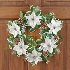 White Poinsettias, Pinecones & Holly Christmas Door Wreath