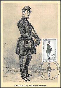 Carte Maximum 1967 - Journée du timbre, Facteur du second empire