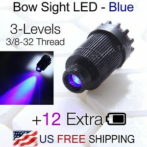 Compound Bow Sight Light Blue LED 3-Levels Adjustable 3/8-32 Thread 12 Battery