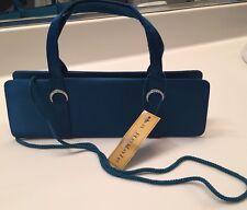 La Regale NWT 24853M Evening Bag w/ Handles & Long Strap Teal Blue w/rhinestone