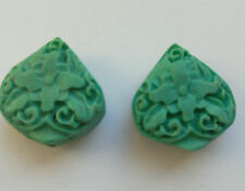 4 Turquoise Carved Cinnabar Lacquerware Beads, Teardrop 17 mm. Jewellery Making