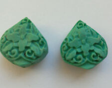4 Turquoise Carved Teardrop Cinnabar Lacquerware Beads, 17 mm. Jewellery Making