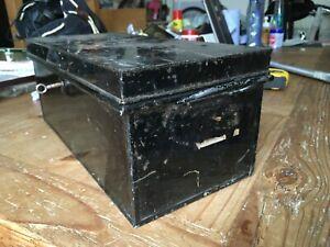 Vintage Metal Safe Deed Box Lockable - Key Included -34cm x 16cm x 14cm - Black
