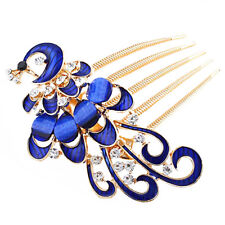 Royal Blue Peacock Hair Decoration Gold Hair Comb Evening Prom Wedding Birdal