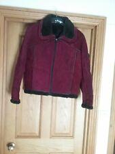 Ladies Sheepskin Coat/Jacket Red Wine Coloured Size 14/16