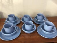 Vintage Rubbermaid Blue Melmac Melamine Set Of 16 ~ 6 Cups, 4 Plates, 6 Bowls