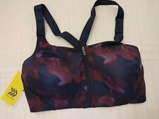 All in Motion Women's 36D High Support's Bra Camo Mesh Back Zip-Front Burgundy