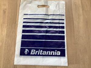 Vintage Retro Britannia Airways Duty Free Gift Plastic Carrier Bag 43cm x 31cm