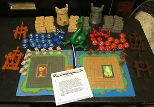 Vtg Crossbows and Catapults Battle Game Towers Blocks Caroms Dragon Flags Figure