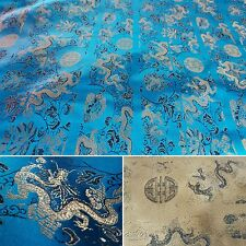 Rich turquoise, gold and hint of black Dragon Chinese fabric 1m.UK SELLER