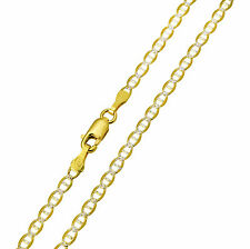 """14K Solid Real Yellow Two Tone Gold White Pave Mariner Chain 2.7mm 22"""" ( 3/32"""")"""