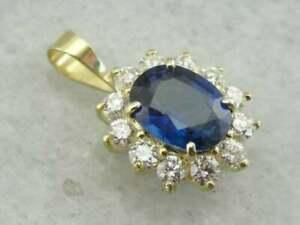 1.25ct Blue Sapphire & Diamond 14K Yellow Gold Over Halo Pendant Necklace